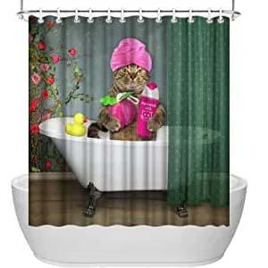 Cortina para duccha con diseño de gato